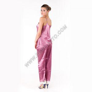 Дамски сатенен комплект 3 части: потник, панталон и халат