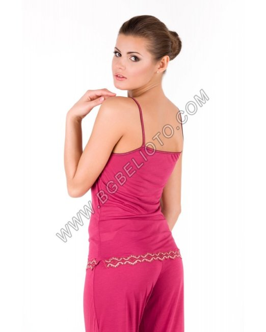 Дамски памучен комплект 3 части: потник, панталон и наметало