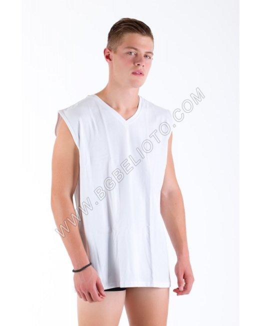 Мъжка тениска без ръкав бод деколте памук - ликра БРАТЯ ГЬОКОВИ