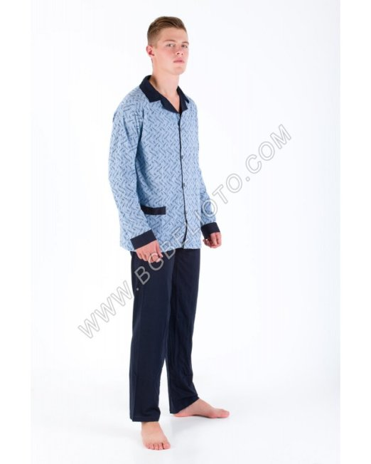 Мъжка пижама 100% ПАМУК с копче до долу Каре с едноцветна долница