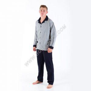 Мъжка пижама 100% ПАМУК с копче до долу Каре с едноцветна долница ВАТА