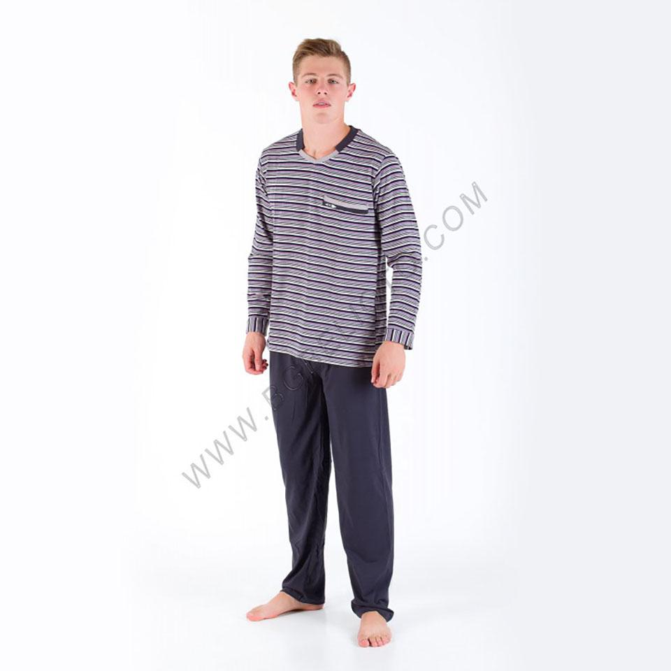 Българско бельо - Мъжка памучна пижама Каре - БГ Бельото